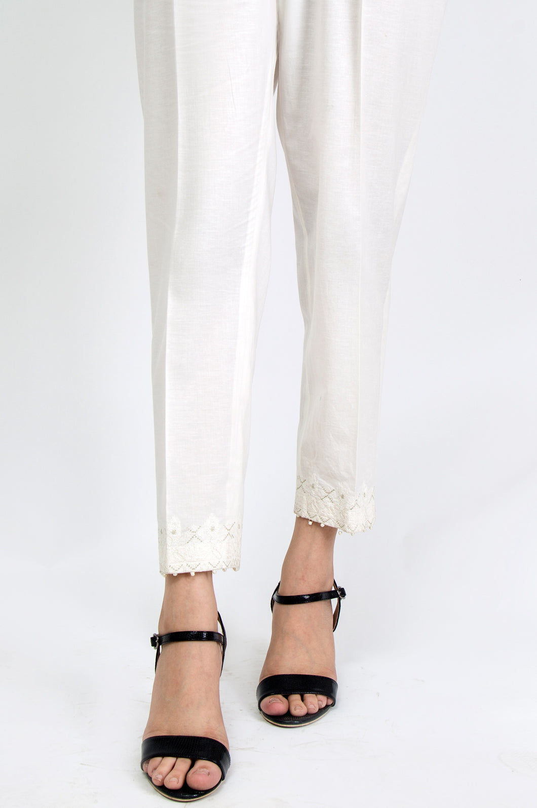 Embroidered Cigarette Pants - Off White