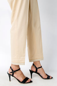 Embroidered Cigarette Pants - Beige