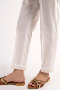 Embroidered Cigarette Pants - Off-White