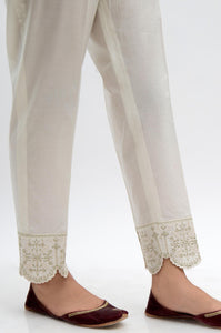 Embroidered Cambric Cigarette Pants  - OffWhite
