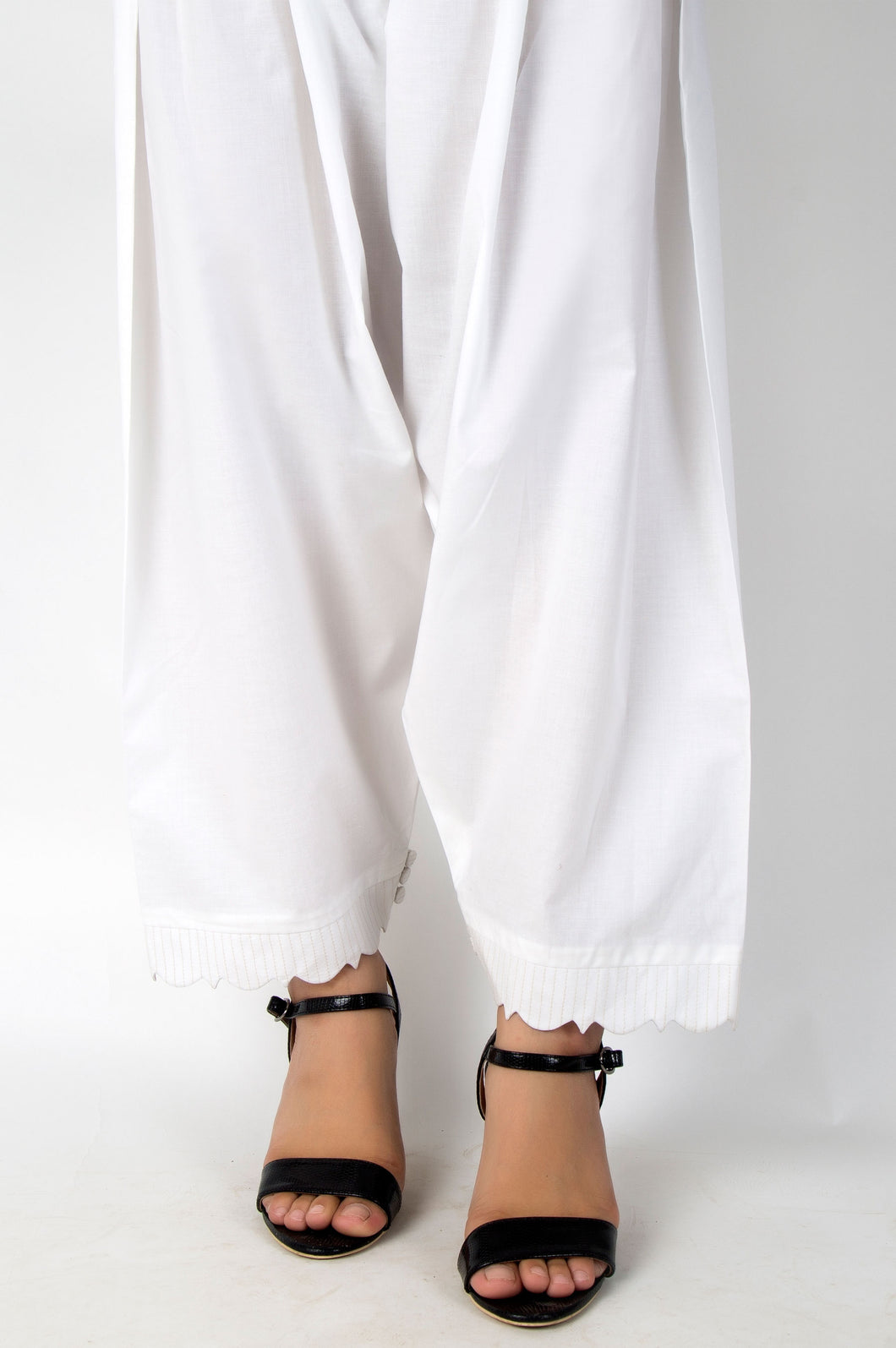 Embellished Cambric Shalwar - White