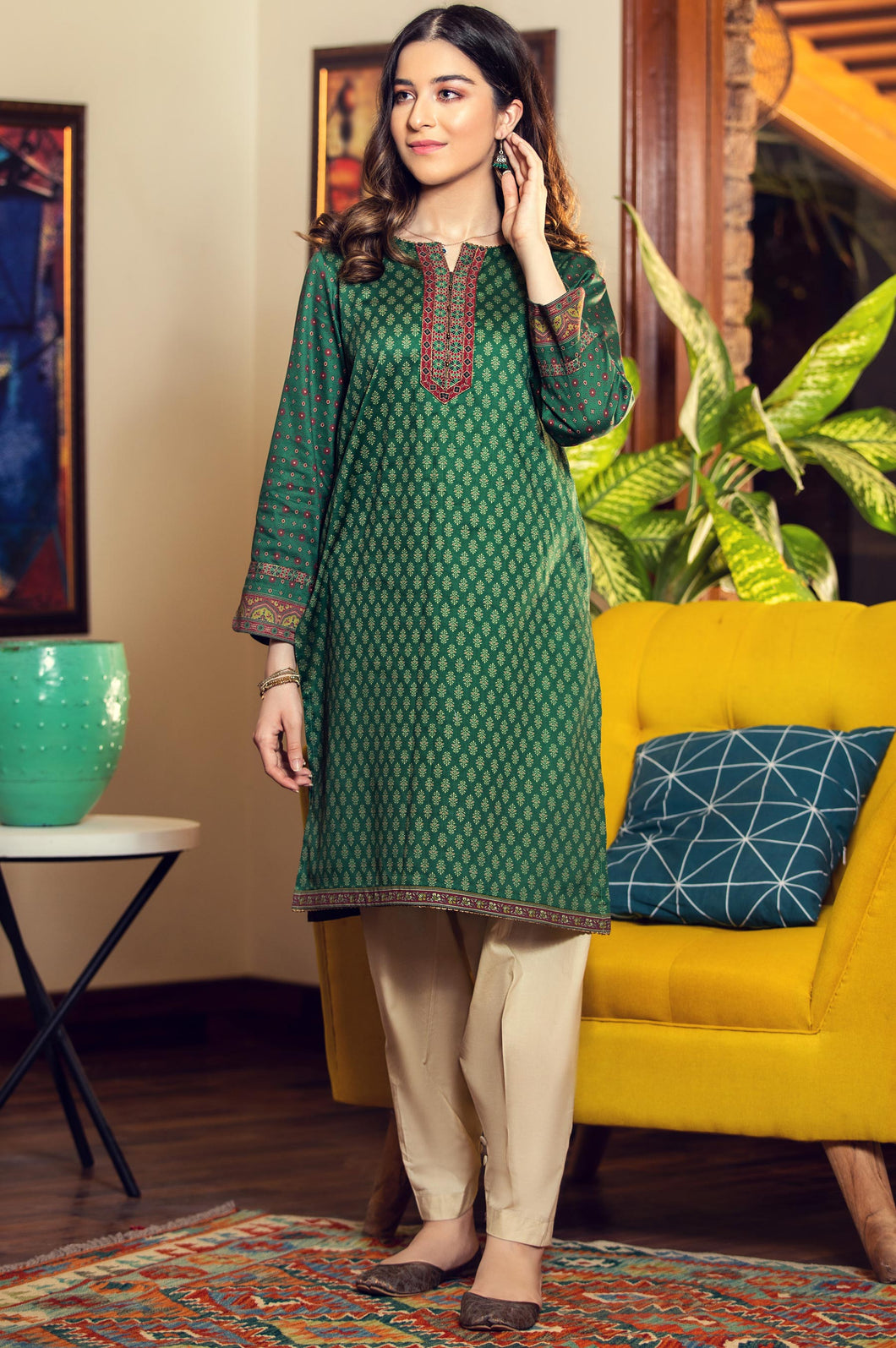 Unstitched 1 Piece Digital Printed Cottel Suit