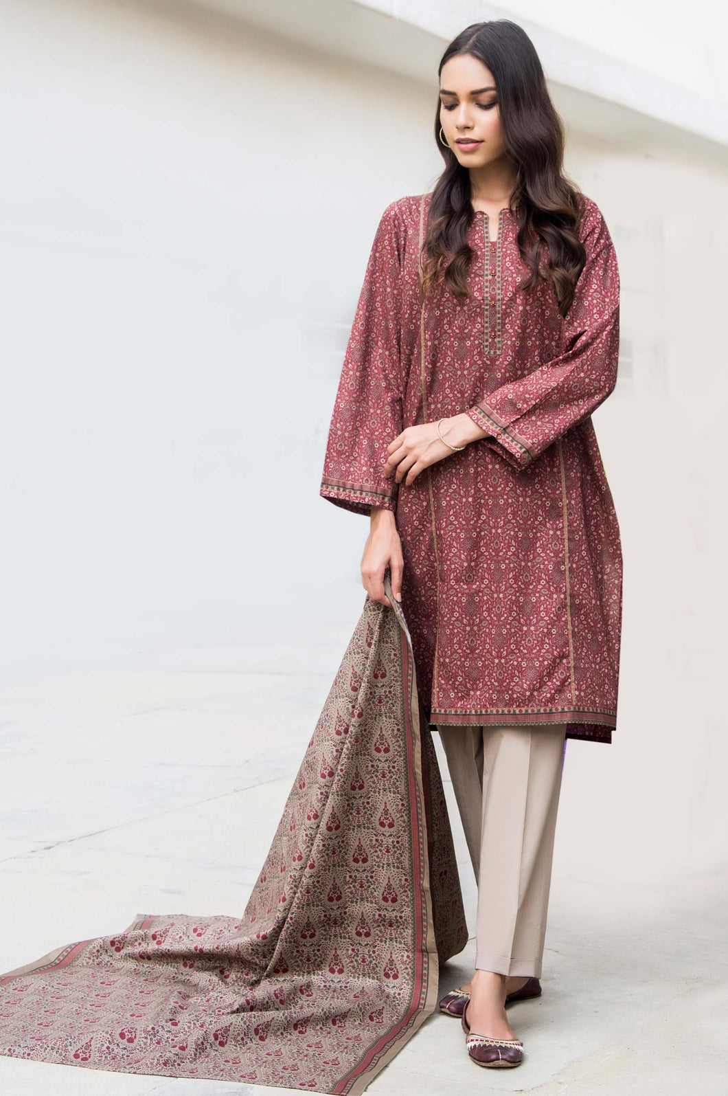 Unstitched 2 Piece Printed Cambric Suit