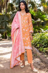 Unstitched 3 Piece Printed Doria Lawn Suit