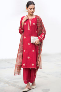 Unstitched 3 Piece Embroidered Jacquard Suit