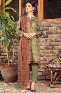 Unstitched 3 Piece Printed Cottel Suit