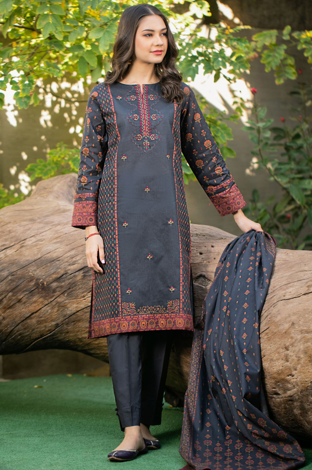 Unstitched 3 Piece Embroidered Cambric Suit
