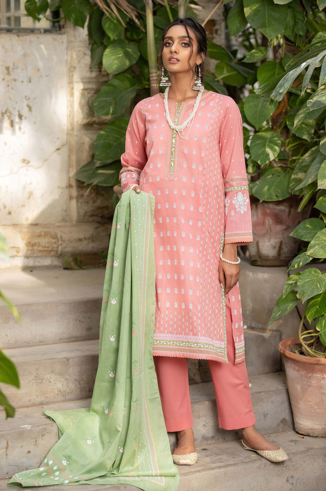 Unstitched 3 Piece Printed White Paste Lawn Suit