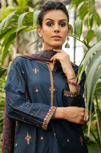 Unstitched 3 Piece Embroidered Lawn Suit with Chiffon Dupatta