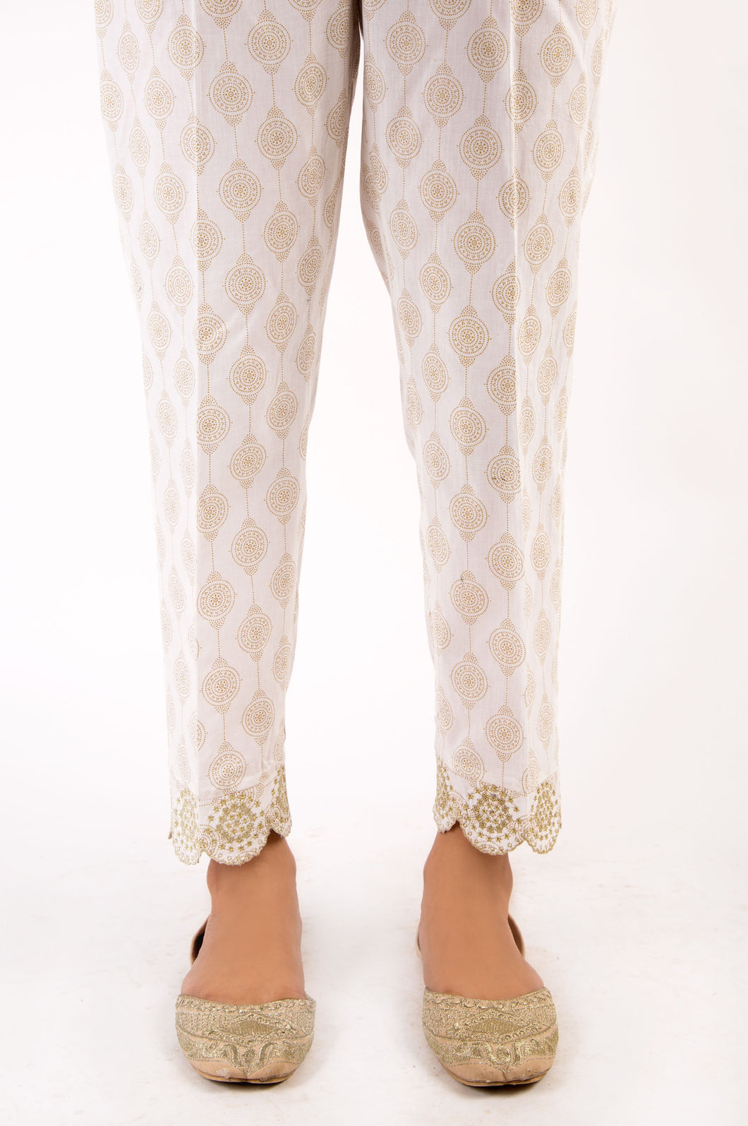 Embroidered Cambric Pants - Gold Paste