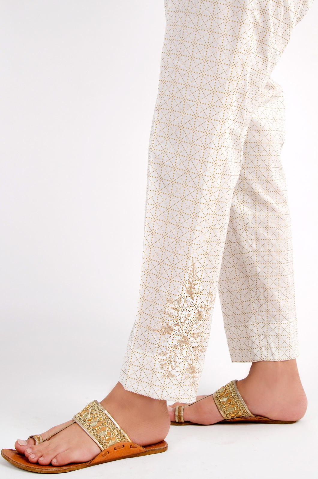 Cambric Embroidered Cigarette Pants - Gold Paste