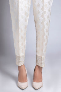 Embroidered Cigarette Pants - White