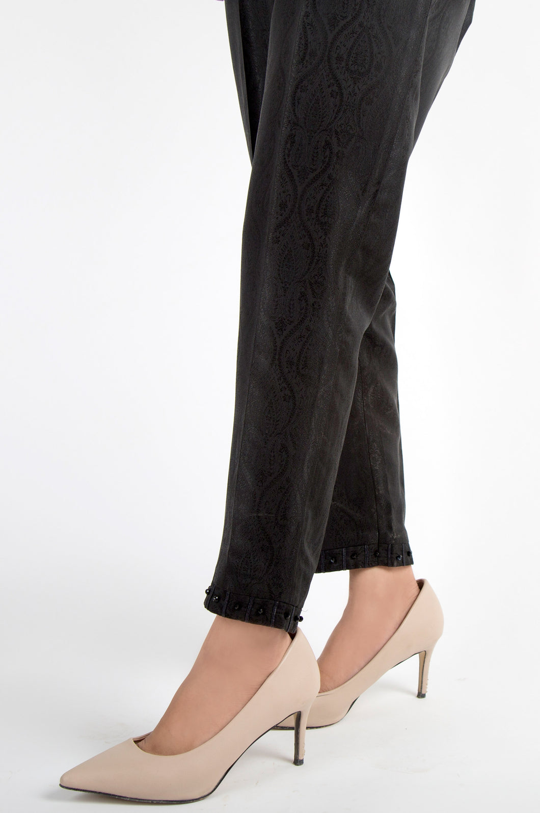 Embellished Jamawar Pants - Black