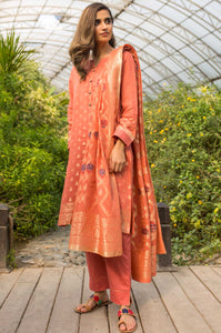 Stitched 2 Piece Embroidered Yarn Dyed Jacquard Suit