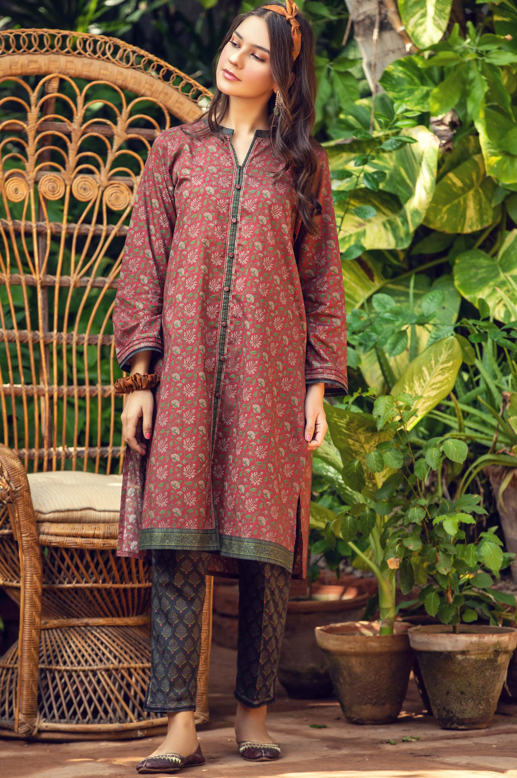 Stitched 2 Piece Digital Printed Cambric Suit