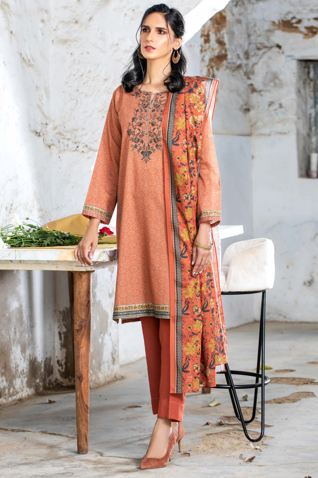 Stitched 2 Piece Embroidered Karandi Suit