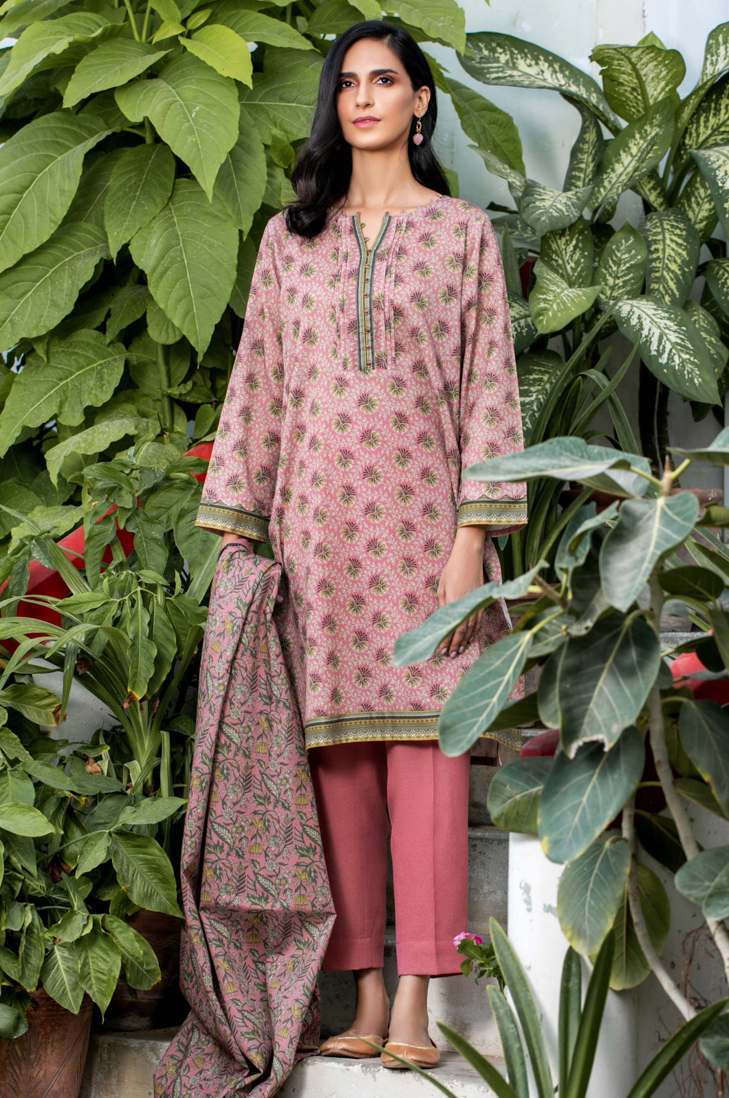 Stitched 2 Piece Printed Karandi Suit