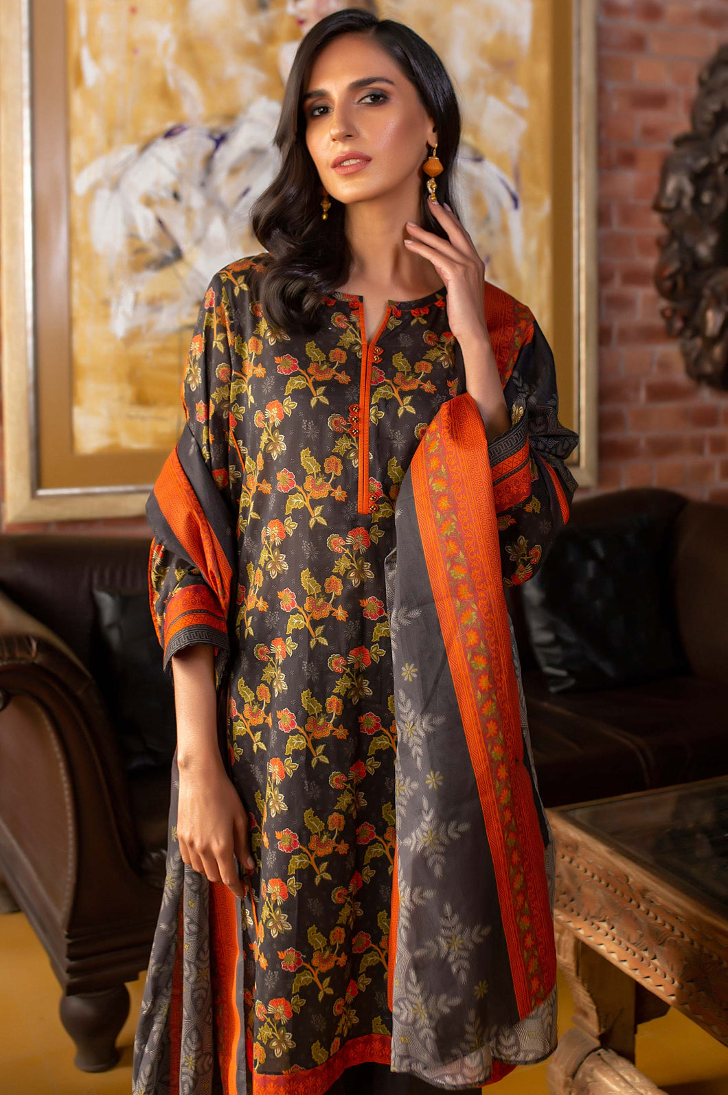 Stitched 2 Piece Printed Lawn Suit with Printed Lawn Dupatta
