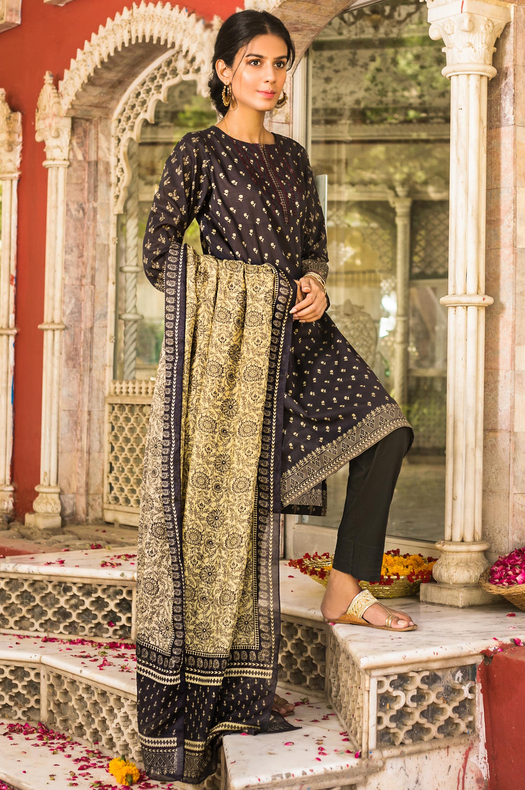 Stitched 3 Piece Embroidered with Cotton Net Lawn Suit