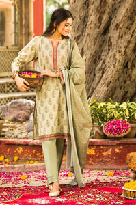 Stitched 3 Piece Printed Slub Lawn Suit