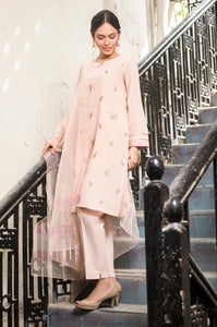 Stitched 3 Piece Embroidered Maysuri with Organza Suit