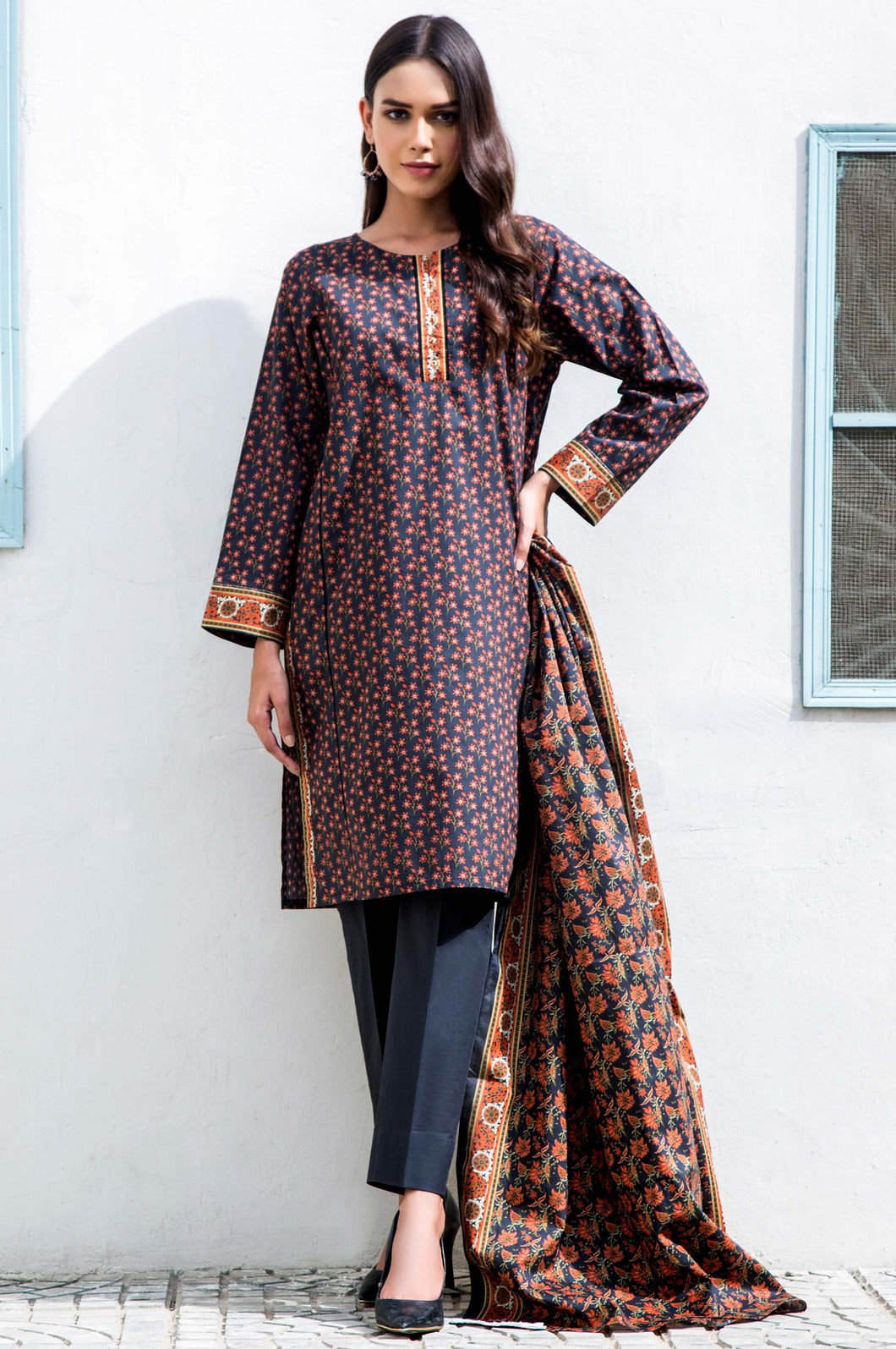 Stitched 3 Piece Printed Cambric Suit