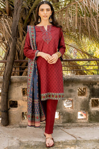 Stitched 3 Piece Embroidered Khaddar Suit