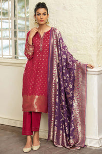Stitched 3 Piece Jacquard Suit with Jacquard Dupatta