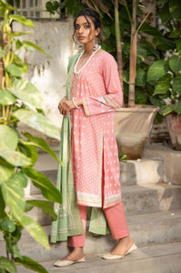 Stitched 3 Piece Printed White Paste Lawn Suit