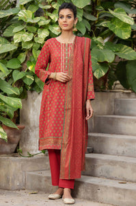 Stitched 3 Piece Printed Gold & Colored Paste Lawn Suit