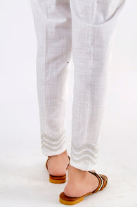 Embroidered Cotton Slub Pants - White