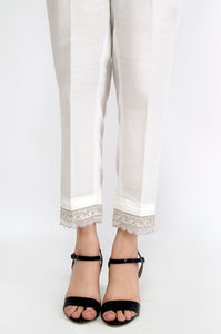 Embroidered Cambric Pants - White