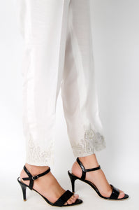Embroidered Raw Silk Pants - White
