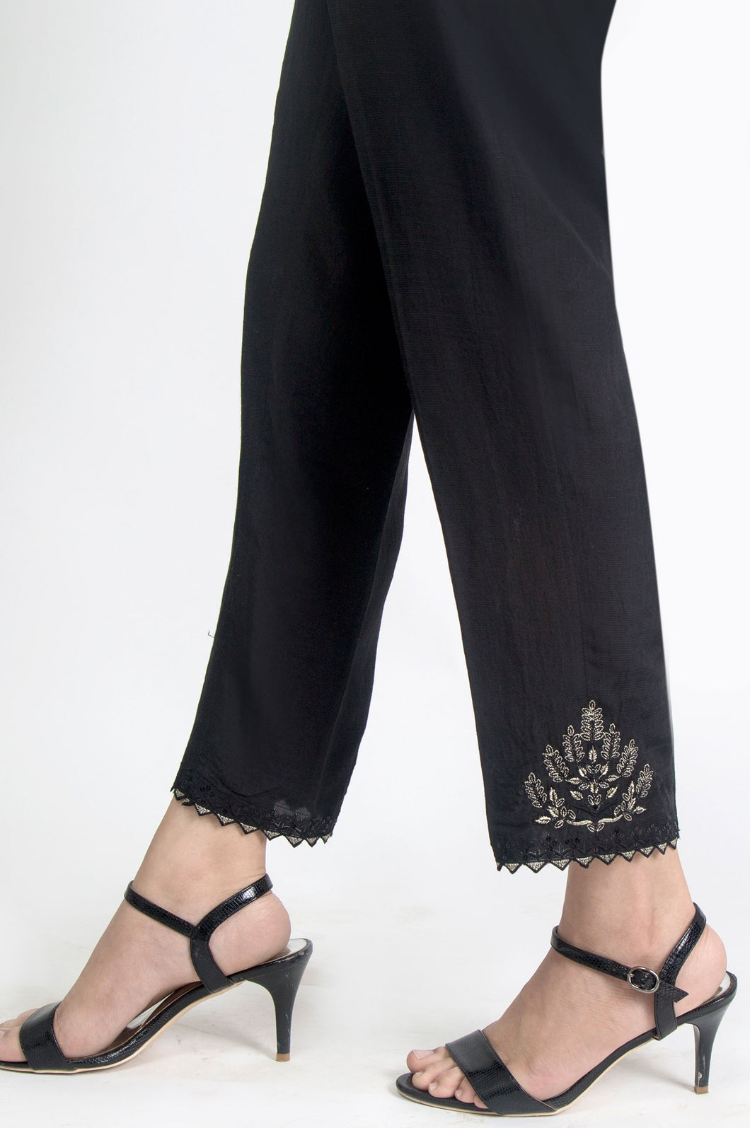 Embroidered Cigarette Pants - Black