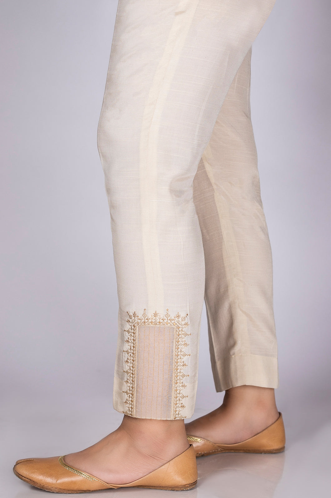 Embroidered Cigarette Pants - Light Beige