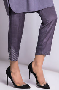 Raw Silk Cigarette Pants - Grey