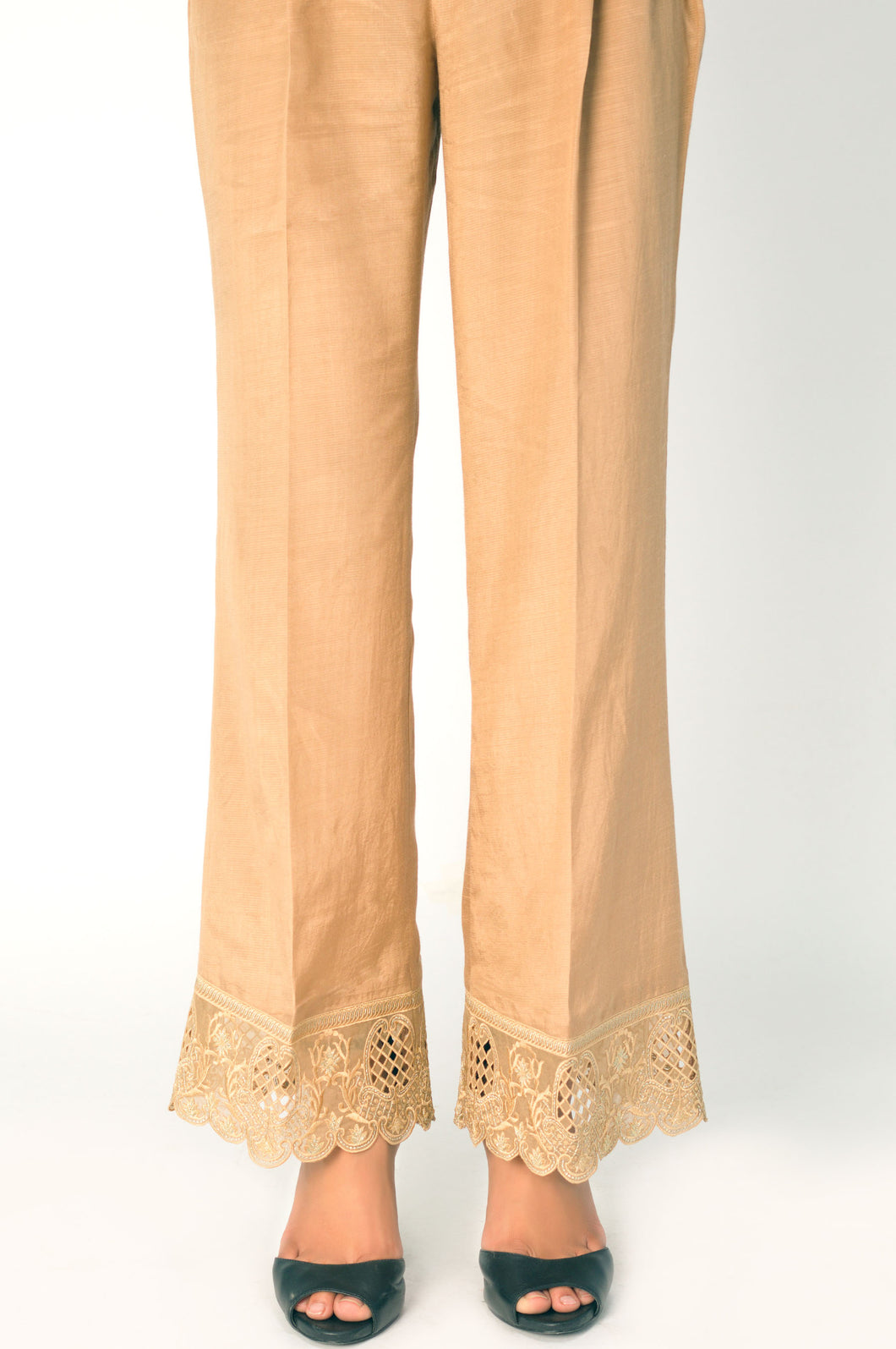 Embroidered Raw Silk Palazzo Pants - Beige