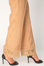 Load image into Gallery viewer, Embroidered Raw Silk Palazzo Pants - Beige