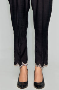 Embroidered Raw Silk Pants - Black