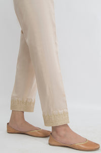 Embroidered Cotton Satin Pants