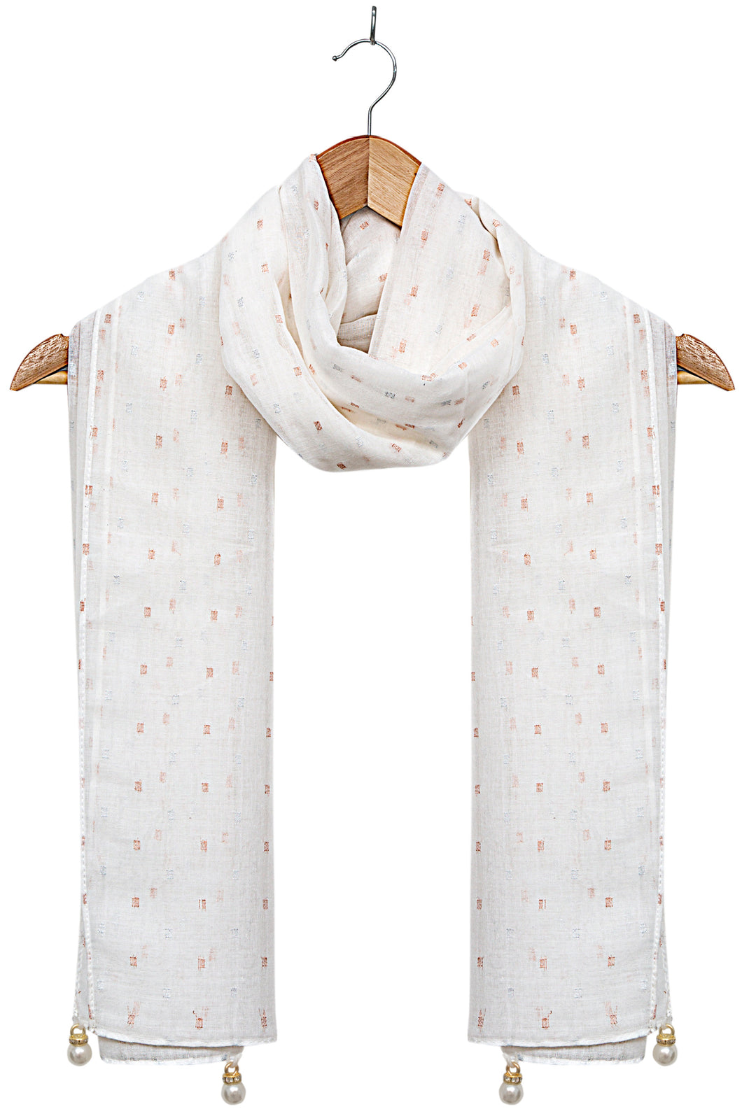 Woven-Solid-with-Pearls-Offwhite & Gold