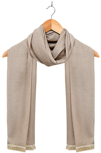 Silky-lace-trimmed-ScarfDull Gold
