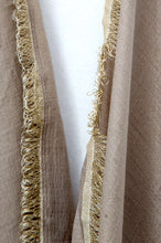 Load image into Gallery viewer, Silky-lace-trimmed-ScarfDull Gold