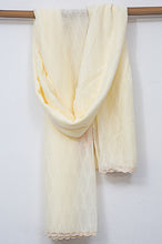 Load image into Gallery viewer, Jacquard-Lace-trimmed-Scarf-Offwhite