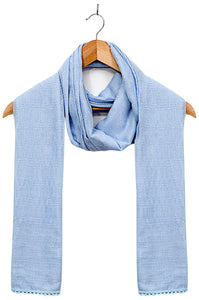 Jacquard-Lace-trimmed-Scarf-Powder Blue