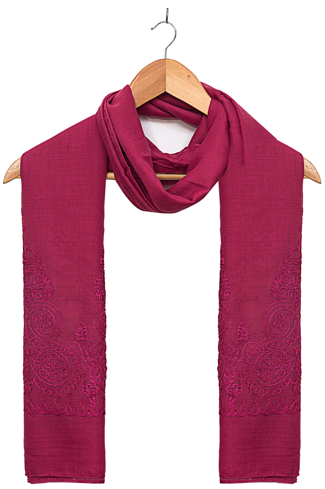 Solid-Embroidered-Scarf-Magenta