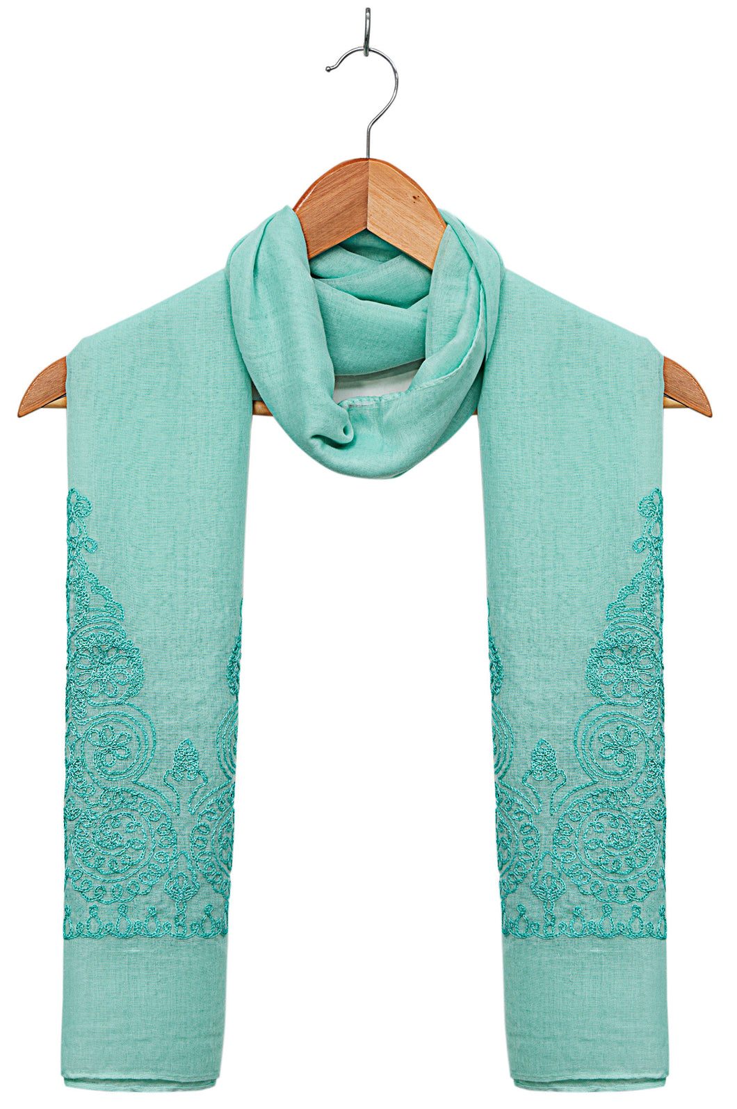 Solid-Embroidered-Scarf-Turqoise