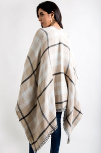 Checkered Reversible Poncho Shawl