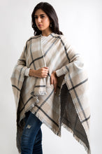 Load image into Gallery viewer, Checkered Reversible Poncho Shawl