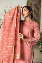 Load image into Gallery viewer, 2 Piece Unstitched Striped Maysuri Suit with Jacquard Dupatta